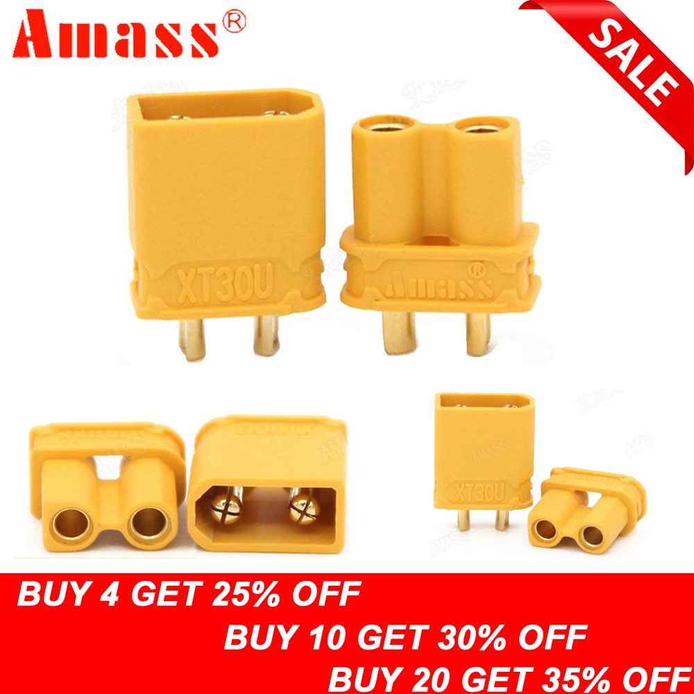5Pair Amass XT30U Male Female Bullet Connector Plug For RC FPV Lipo Battery
